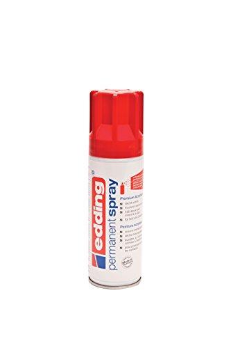 edding 5200 Permanent-Spray - verkehrs-rot glänzend - 200 ml - Acryllack zum Lackieren und Dekorieren von Glas, Metall, Holz, Keramik, lackierb. Kunststoff, Leinwand, u. v. m. - Sprühfarbe