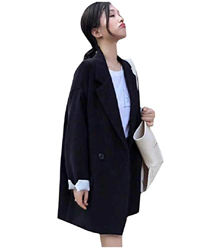 CuteRose Women's Longline Light Weight Blazer Double Breasted Baggy Suit Coat Black XS Double Breasted Coat Petite