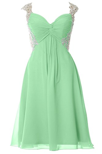 MACloth Women Lace Straps Chiffon Short Prom Dress Formal Party Evening Gown Menthe