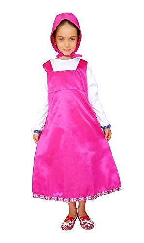 Costume masha - travestimento - carnevale - halloween - colore rosa - bambina - taglia m - 6-7 anni - idea regalo per natale e compleanno
