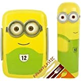 Pawan Plastic Clip Lock And Fit Gift Set Of MInion Printed Lunch Box And Minion Pencil Box With Stationary Pencil ,Eraser, Sharpner And Scale For Kids (1 Set Colours May Vary)