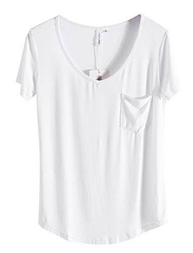 iClosam Damen T Shirt Casual Sexy und Elegante 2018 Sommer Top V Ausschnitt mit Tasche (XX-Large, Weiß)
