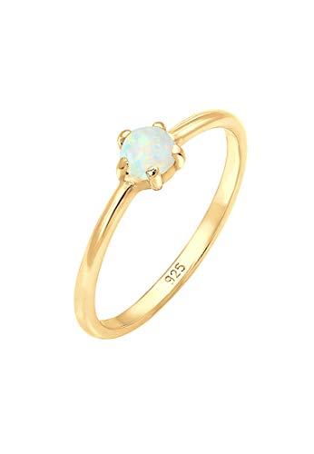 Elli Damen Echtschmuck Ring Bandring Basic Synthetischer Opal Geo in 925 Sterling Silber vergoldet 54