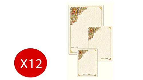 Carta pergamena fiorentino decorata avorio a3 297x420mm 160g/mq confezione da 12 fogli
