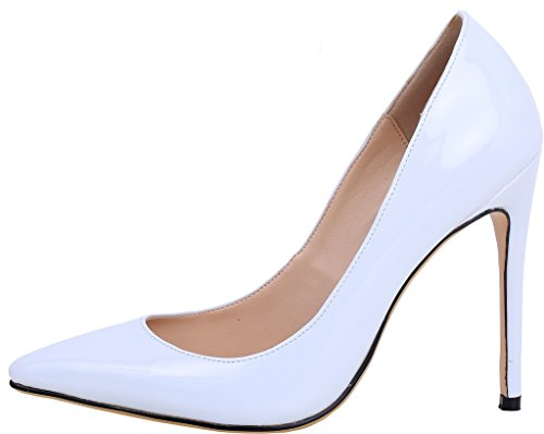 Calaier Femme Caelse Pointures Européennes 34-46 Aiguille 12CM Glisser Sur Escarpins Chaussures Verni Blanc