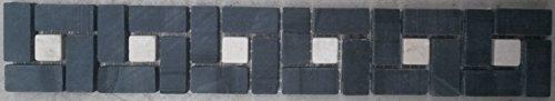 Creme Fliese (Mosaik Naturstein Bordüre Schwarz Creme Fliesen Sockelleiste B520)
