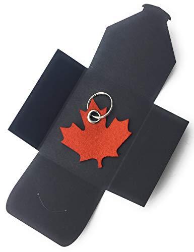 filzschneider Schlüsselanhänger aus Filz - Ahornblatt - Kanada - hell-braun/rost-braun - als besonderes Geschenk mit Öse und Schlüsselring - Made-in-Germany