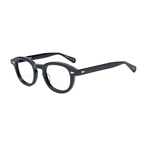 Pirata Capitano Johnny Depp Acetato Ovale Moda Occhiali da lettura ottici Telaio Vintage Uomini e donne Miopia Occhiali da vista (nero)