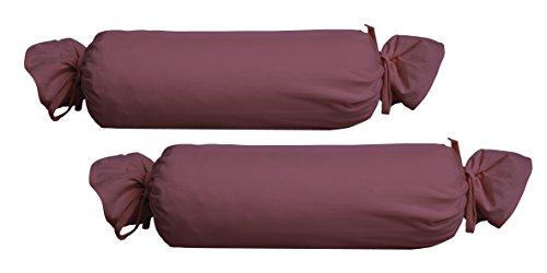 Biberna 0077144 Jersey-Kissenhülle für Nackenrolle aus 100 % Baumwolle, 2er-Pack, 15 x 40 cm Brombeere, 27 x 18 x 2 cm -