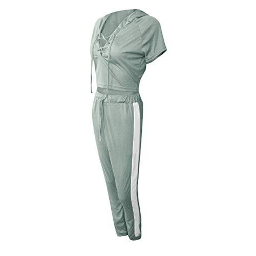 cinnamou Mode Frauen beiläufige gestreifte Kurzarm Spitze Pullover Sport Tops + Lange Hosen Set,Herren Lounge Wear, - Gestreifte Spitze