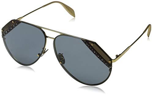 Alexander mcqueen am0117s 003 65, occhiali da sole donna, oro (003-gold/bluee)