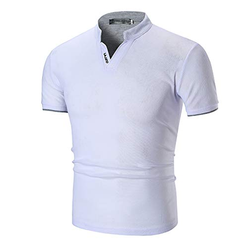 Oyedens Laiso Herren Stehkragen Hemd LäSsiges Kurzarmshirt Sommer MäNner Starre Kragen LäSsige Pure Color Fashion Kurzarmshirts Tops Tshirt -
