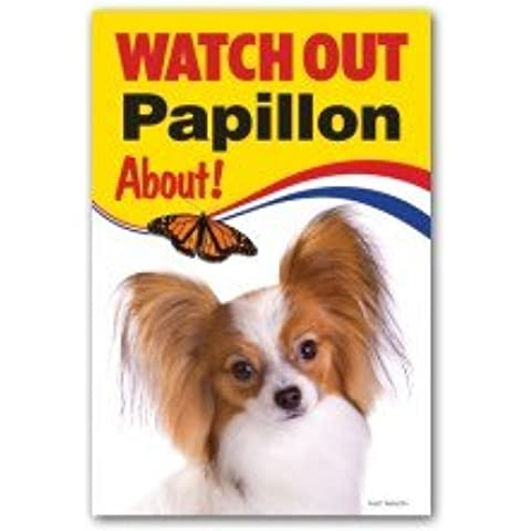 Papillon perro Regalo–Reloj Out–Señal de advertencia 9