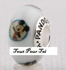 Pendentif perle bracelet blanc Mickey Mouse compatible Pandora verre Murano argent