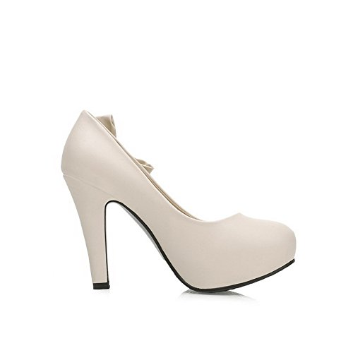 AllhqFashion Damen Hoher Absatz Weiches Material Rein Ziehen Auf Rund Zehe Pumps Schuhe Cremefarben