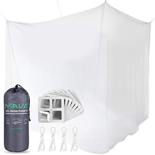 MAVE Premium Moskitonetz für Doppelbetten im kastenförmigen XXL Format [220cm x 200cm x 200cm] - Inklusive Reparaturset und Befestigungsmaterial