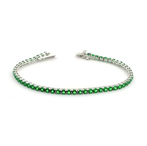 Bracciale Tennis in Argento 925% Rodiato con Zirconi Verde Smeraldo Uomo Donna 18 cm