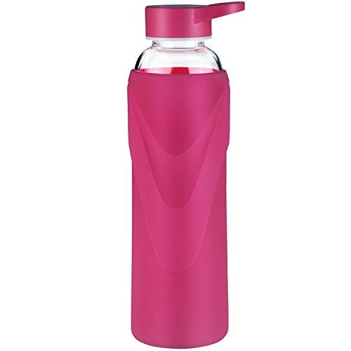 Justfwater Sports Trinkflasche Glas Wasserflasche mit Silikonhülle 420 ml / 660 ml / 1000 ml (Magenta, 1000 ml)