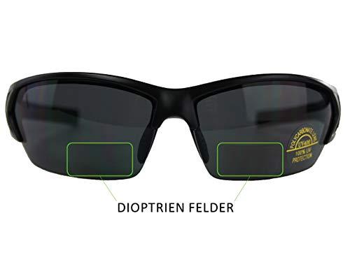 Raiko Sportswear RSB2 Radbrille mit Lesehilfe | 1.5 Dioptrien Feld | schwarz matt