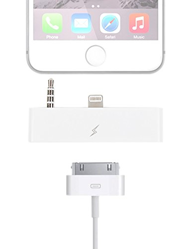 DURAGADGET Adattatore Di Audio Apple Iphone 6 Lightning (Maschio) A Iphone 4 (30 pin) (Femmina) + Camoscio Di Pulizia Di Regalo