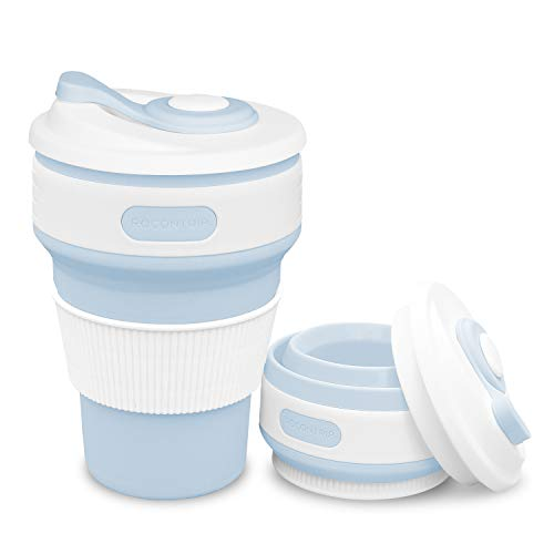 ROCONTRIP Faltbare Tasse Silikon Becher 100{b235606c64a8e2e99a68b8409952a982713a61113d810aa09a9757bca9465ecd} Lebensmittelqualität Silikon BPA-frei, 350ml, Blau, 1 Stück