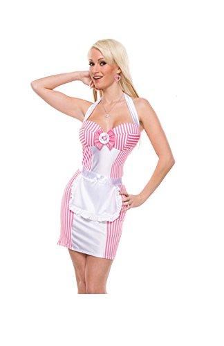 Heiße sexy rosa Mädchen- Kellnerin Halloween Cosplay Kostüm-Abendkleid (M)