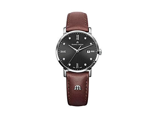 Maurice Lacroix Eliros Date Ladies Quartz watch, Black, 30mm, Leather, Diamonds