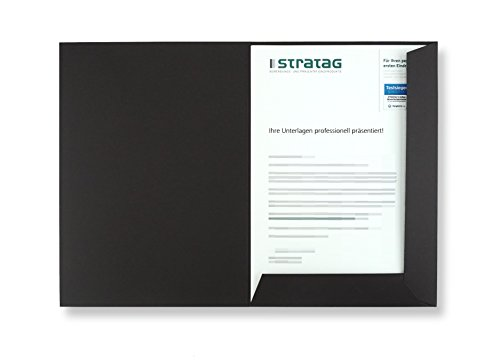 Präsentationsmappe A4 in Schwarz 10 Stück (wählbar) - erhältlich in 7 Farben - direkt vom Hersteller STRATAG - vielseitig einsetzbar für Ihre Angebote, Exposés, Projekte oder Geschäftsberichte