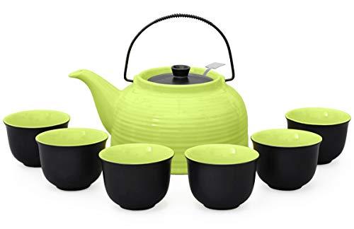 Aricola Tee-Set/Tee-Service Nelly groß aus hitzebeständiger Keramik, 1,5 Liter Teekanne mit Stahl-sieb, und 6 Tee-Cups Original