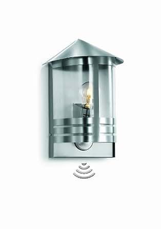 Steinel Sensor-Außenleuchte L 170 S Edelstahl, Laternen-Leuchte im klassischen Design mit 180° Bewegungssensor und 12 m Reichweite, 100 Watt, E 27 Fassung, 645311