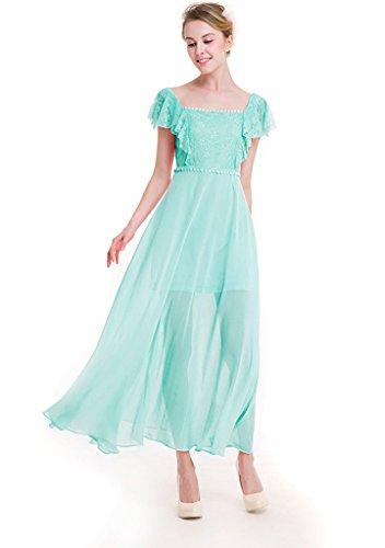 ... Ababalaya Frauen Elegantes Chiffon Punktmuster Hoch Taille Rüsche  Kurzarm Runway Abendkleid Grün