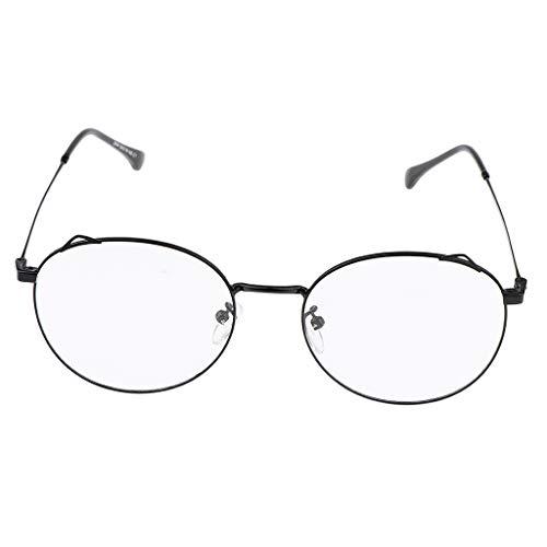 Baoblaze Frauen Runde Metallrahmen Optische Brillen Nicht Verschreibungspflichtige Brillen - Schwarz