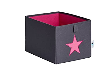 STORE,IT 671855 Kleine Ordnungsbox offen, grau mit Pinkem Stern, Polyester, Grau/ pink, 29 x 22 x 19