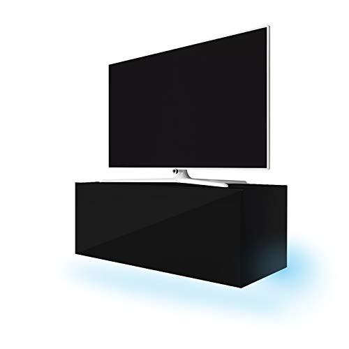 Lana - Meuble TV suspendu / Table Basse TV / Banc TV de Salon (100 cm, Noir Mat / Noir Brillant avec LED bleue)