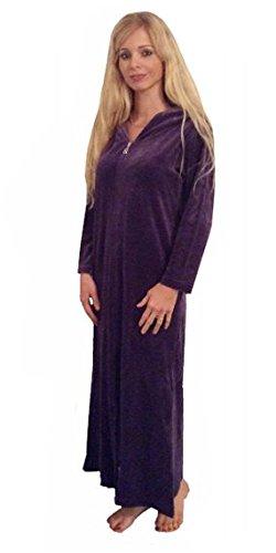 Shlomper, vestaglia in velluto con cerniera e cappuccio Grape