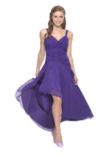 Astrapahl Damen Cocktail Kleid mit schönen Raffungen, Knielang, Einfarbig, Gr. 42, Violett...