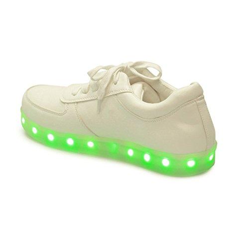 La Modeuse - Baskets lumineuses avec plateforme à LED Blanc