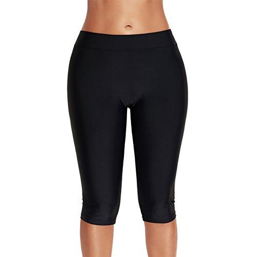 iBaste Pantaloncino Midi Donna Nuotata normale Pantaloni Leggings Costume da Bagno Partito Bikini Nero