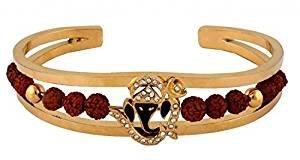 Kostüm Ganesh - odishabazaar Herren Rudraksh American Diamant Gold Meena Ganesh Armband Manschette Kristallsteinen