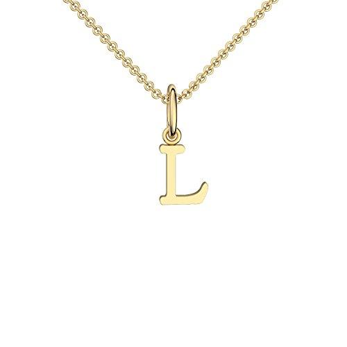 Gold hochwertig vergoldet Buchstabe L - inkl. Luxusetui + - Kette Buchstabe L Buchstabenanhänger Buchstaben Anhänger Gelbgold Kette Gold vergoldet FF115 VGGG45 ()