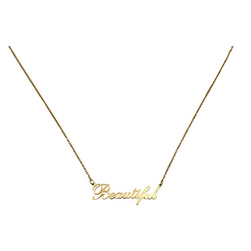 Deinzigartig Halsketten - Gold - in verschiedenen Sprüchen - Schriftzug - Statement Kette Frau - Mädchen - für Sie (Beautiful)