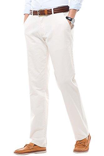 Harrms Pantalones Casual de Hombre, Corte Recto, Estilo Liso, Pantalones de Hombre con Perneras Rectas, Beige, 34