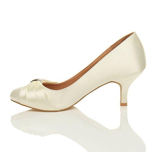 ... Damen Mittlere Absatz Strass Abschlussball Abend Hochzeit Schuhe Pumps  Größe Elfenbein Satin ...