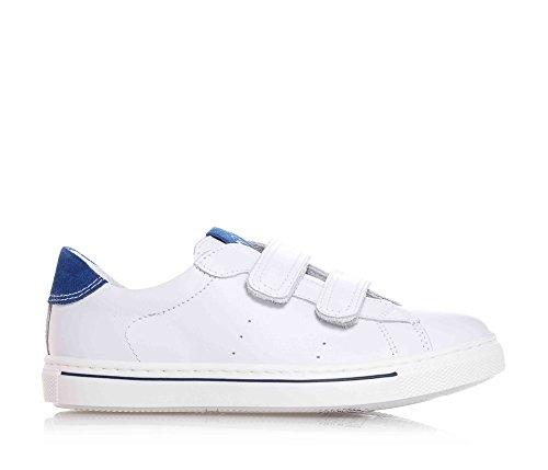 NERO GIARDINI - Chaussure blanche en cuir, avec velcro, logo sur la languette, insert bleu en suède, garçon, garçons, enfant