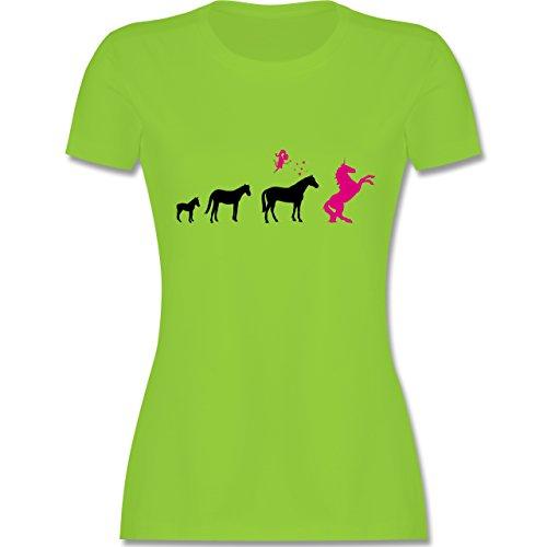 Evolution - Evolution Einhorn - tailliertes Premium T-Shirt mit Rundhalsausschnitt für Damen Hellgrün
