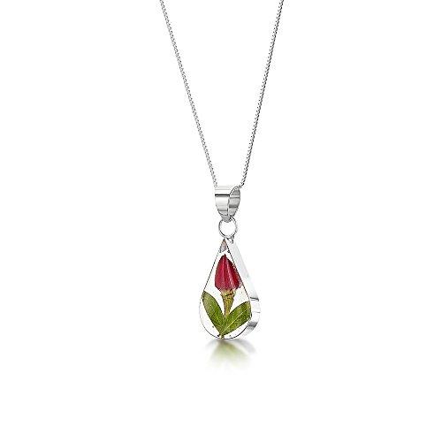 Bijoux en argent avec fleurs véritables - pendentif femme - fleurs mixtes - forme goutte - 45cm chaine inclus Bouton de Rose