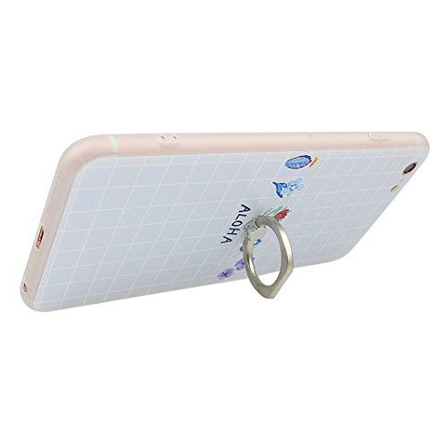 Coque iPhone 6, Rosa Schleife iPhone 6S Case, Ultra Slim TPU Souple Etui Silicone Case et Protection écran pour Apple iPhone 6/6S Relief 3D Pattern Béquille Bague Support Ring Holder Flore