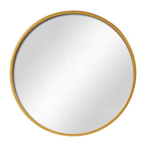 Espejo de Baño,Espejo de Tocador Redondo Montado en la Pared,Marco de Hierro Forjado,Imágenes Realistas...