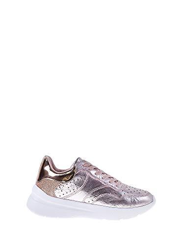 Guess scarpe sneakers casual donna pelle laminata rosa con stellette traforate. fondo in gomma antiscivolo con rialzo da 4cm. n.38