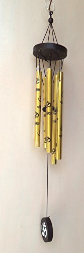 Tej Gifts - Feng shui metal wind chime 5 golden pipes with Om for positive energy large  available at amazon for Rs.299